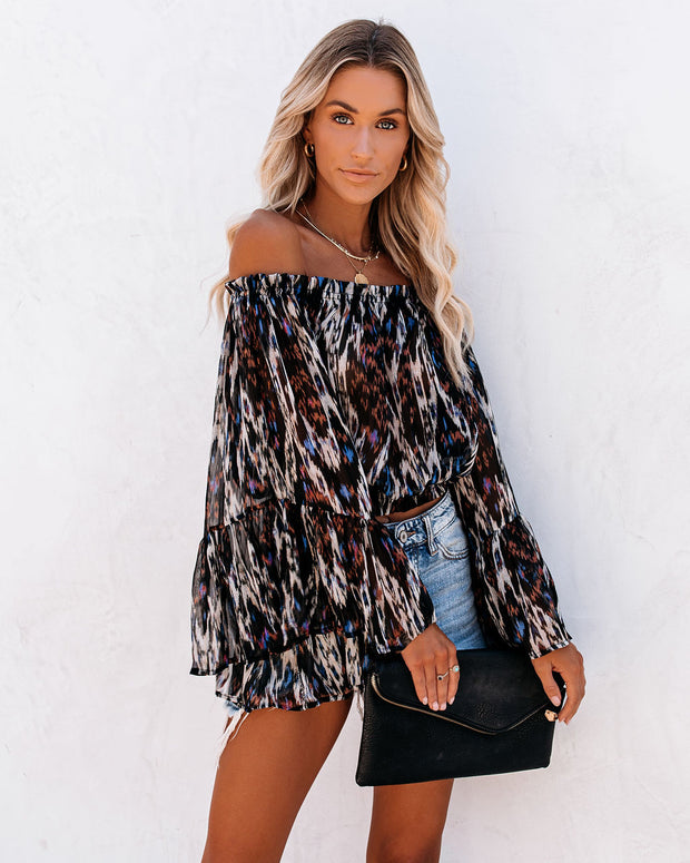 Kerry Printed Off The Shoulder Bell Sleeve Blouse