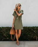 Classic Girl Tencel Pocketed Shift Dress - Olive