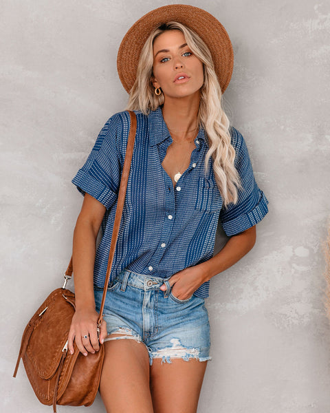 Clay Cotton Button Down Pocket Top