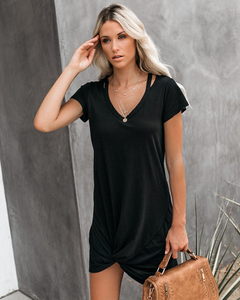 PREORDER - Clear Skies Jersey Twist T-Shirt Dress - Black
