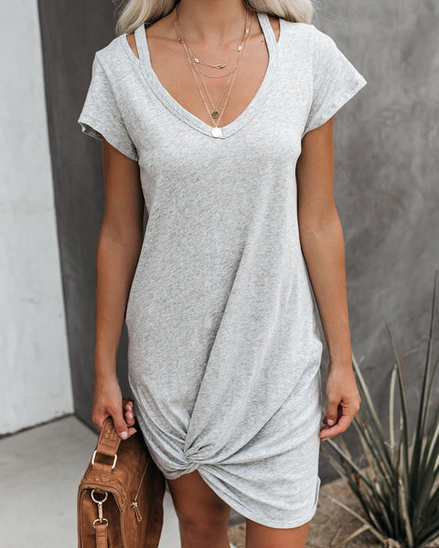 PREORDER - Clear Skies Jersey Twist T-Shirt Dress - Heather Grey