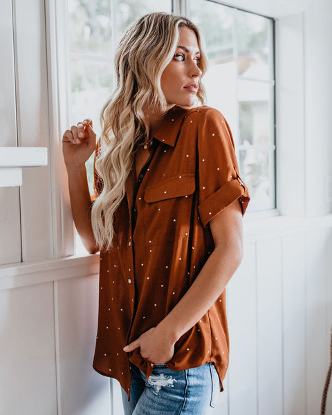 Close To Home Button Up Polka Dot Top - Rust