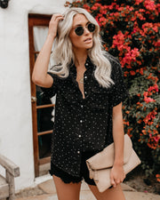 Close To Home Button Up Polka Dot Top - Black