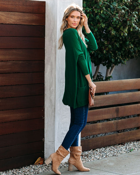 Close To You Pocketed Sweater - Forest  - FINAL SALE