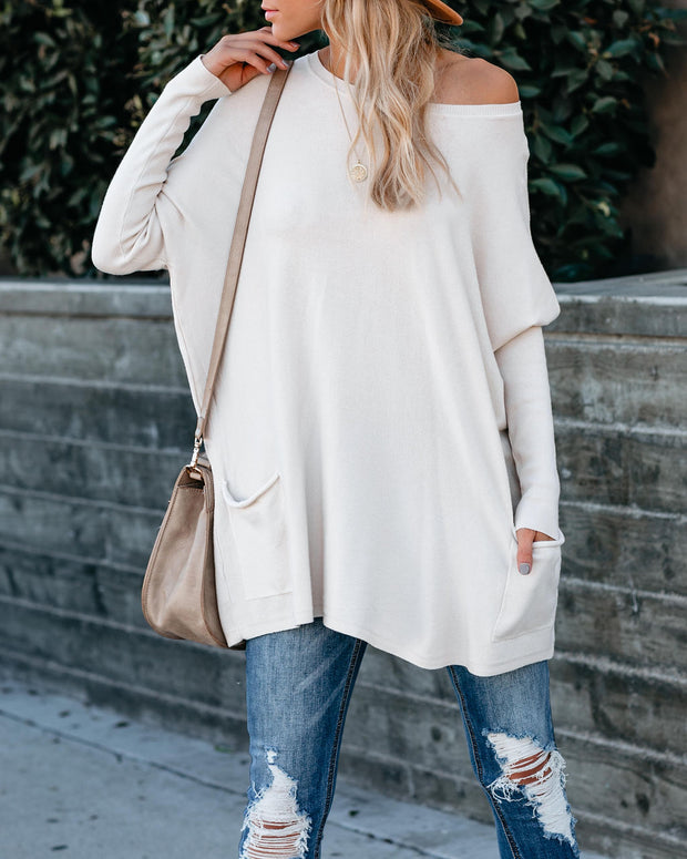 Close To You Pocketed Sweater - Taupe