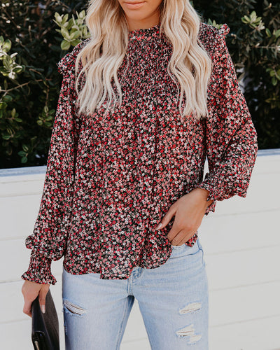 Cloudless Sky Floral Smocked Blouse