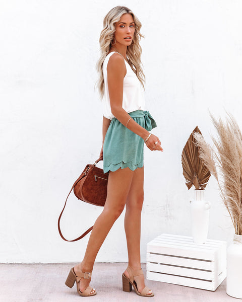 Cloverfield Scalloped Tie Front Shorts - Sage - FINAL SALE