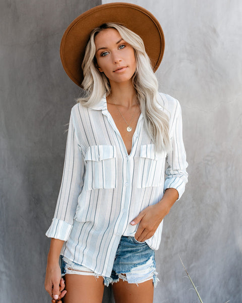 Coast Is Clear Striped Button Down Top
