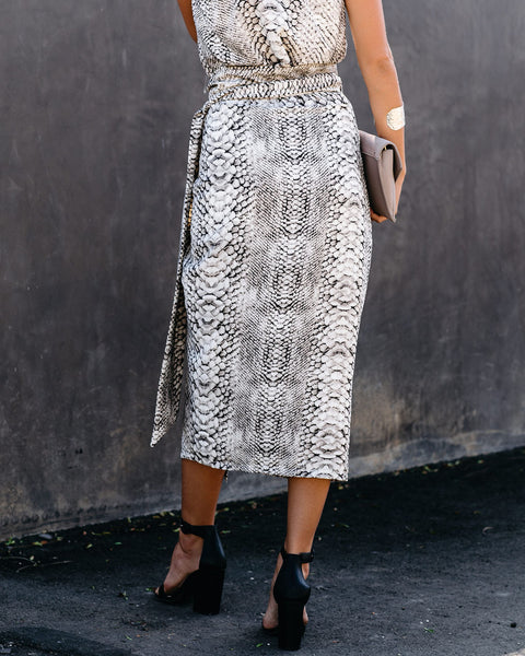 Cobra Printed Wrap Midi Skirt - FINAL SALE