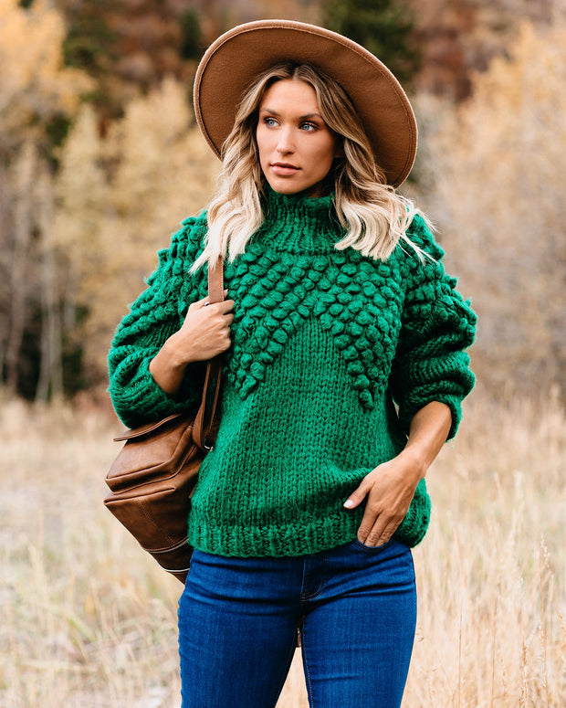 Cold Weather Warm Heart Mock Neck Sweater - Green - FINAL SALE