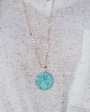 Colette Circle Drop Necklace - Gold/Turquoise