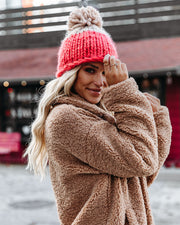 Colorblock The Cold Pom Beanie - Red