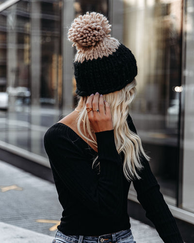 Colorblock The Cold Pom Beanie - Black