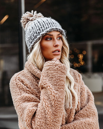 Colorblock The Cold Pom Beanie - Grey