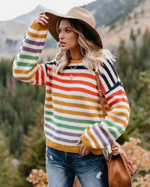 Color Coordinate Cotton Blend Striped Sweater - FINAL SALE