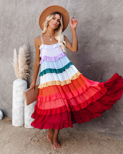 Color Me Pretty Ruffle Tiered Midi Dress