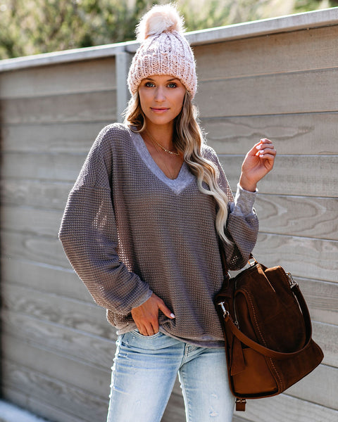 Comfort Zone Thermal Knit Top - Mocha
