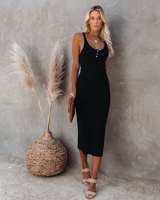 Compliments Knit Midi Dress - Black view 1