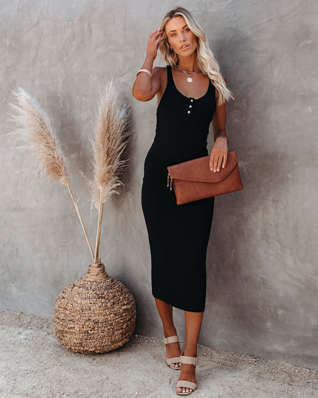 Compliments Knit Midi Dress - Black view 5