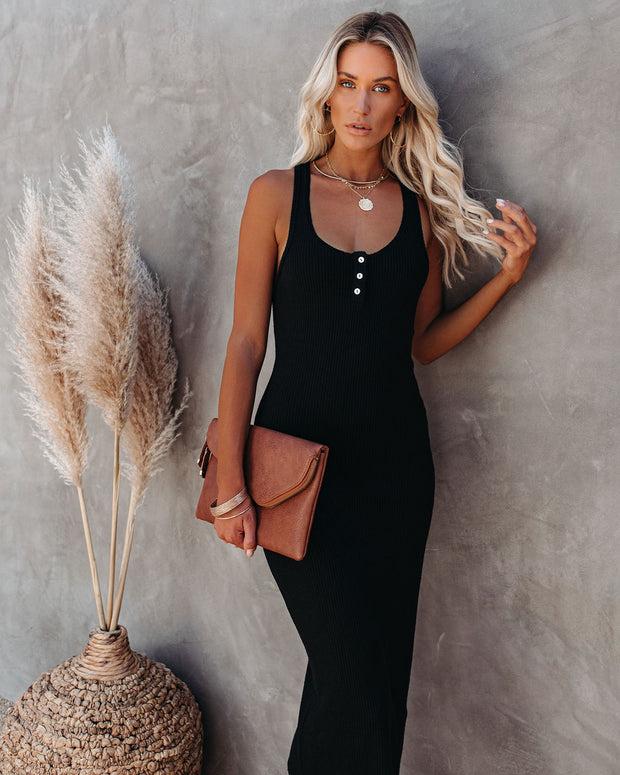 Compliments Knit Midi Dress - Black view 8