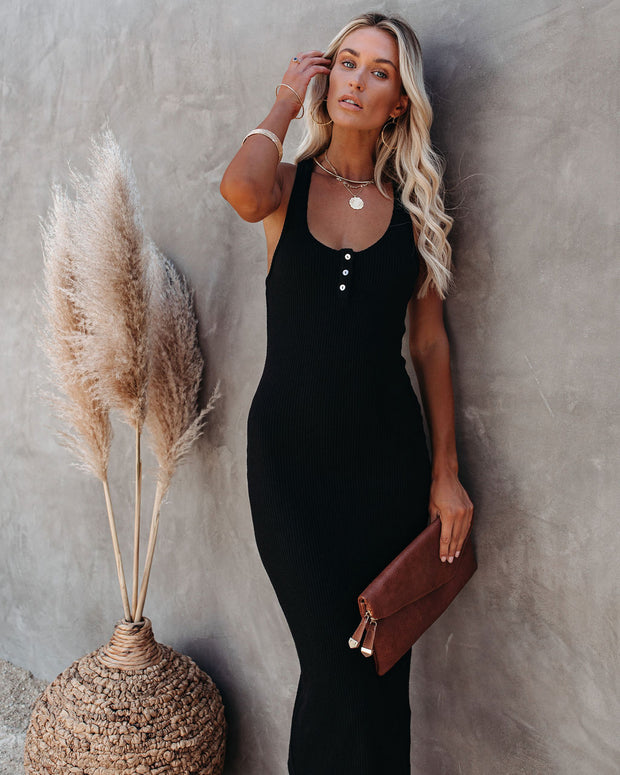 Compliments Knit Midi Dress - Black view 3
