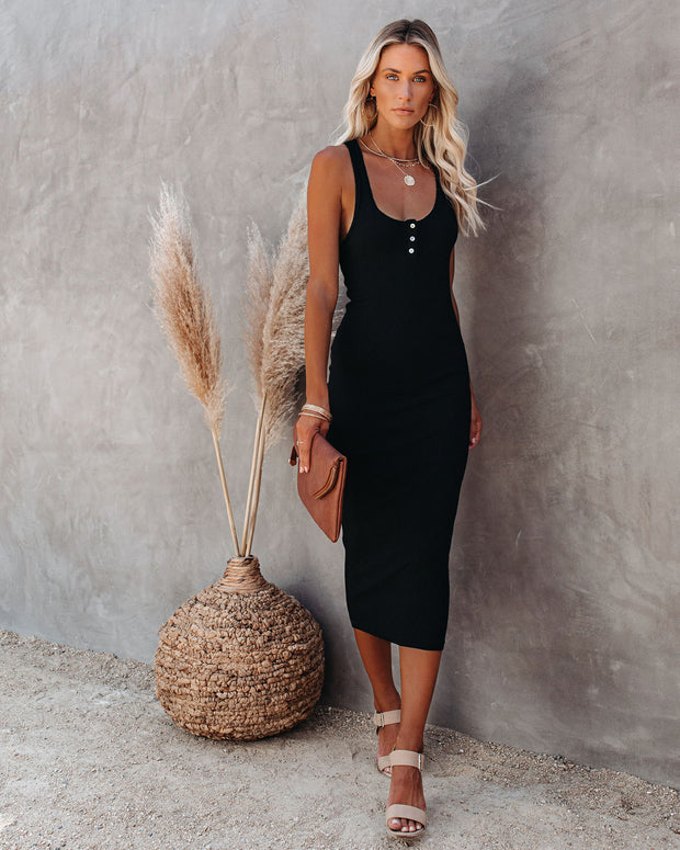 Compliments Knit Midi Dress - Black view 9