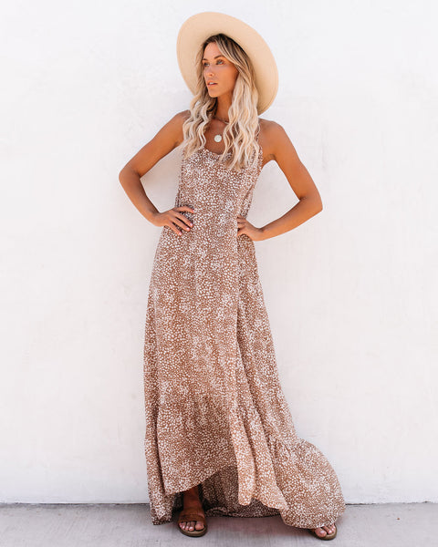Conch Printed High Low Ruffle Maxi Dress