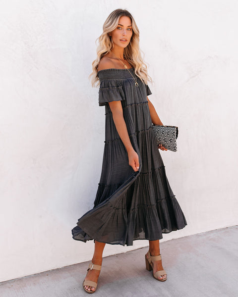 Confident Pocketed Off The Shoulder Tiered Maxi Dress - Asphalt