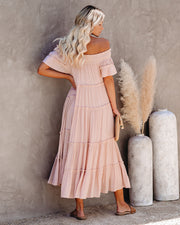 Confident Pocketed Off The Shoulder Tiered Maxi Dress - Blush