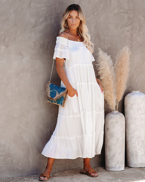 Confident Pocketed Off The Shoulder Tiered Maxi Dress - Marshmallow
