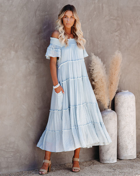 Confident Pocketed Off The Shoulder Tiered Maxi Dress - Waterlily