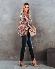Contessa Snake Print Shimmer Drape Blouse - FINAL SALE view 9