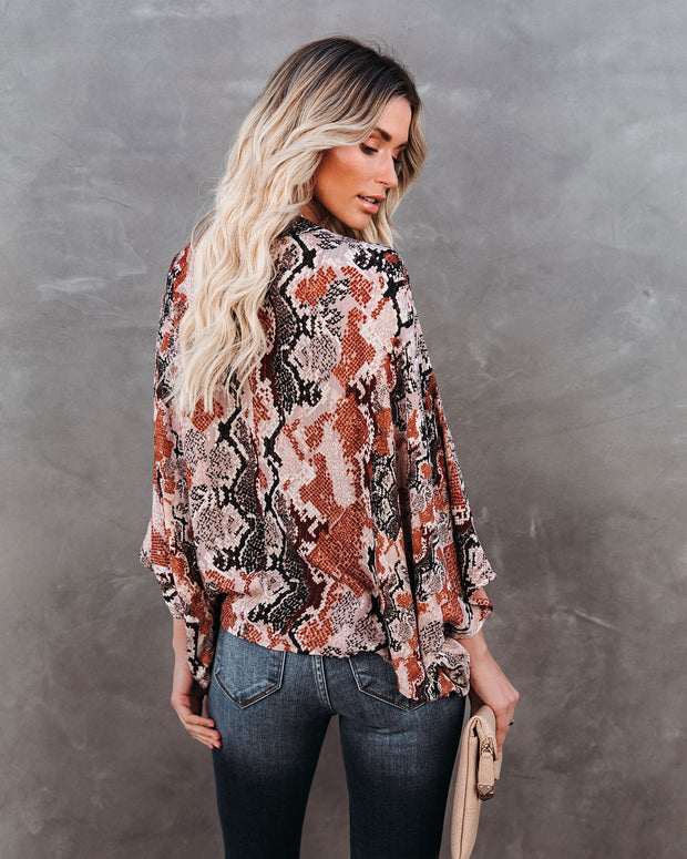 Contessa Snake Print Shimmer Drape Blouse - FINAL SALE view 2