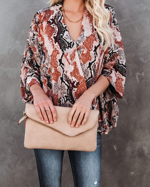Contessa Snake Print Shimmer Drape Blouse - FINAL SALE view 5