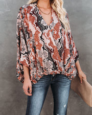 Contessa Snake Print Shimmer Drape Blouse - FINAL SALE view 10