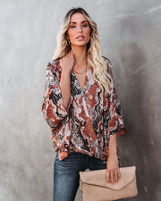 Contessa Snake Print Shimmer Drape Blouse - FINAL SALE view 1