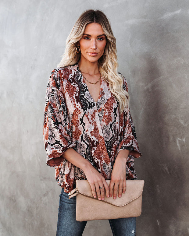 Contessa Snake Print Shimmer Drape Blouse - FINAL SALE view 7
