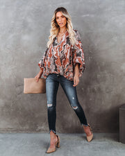 Contessa Snake Print Shimmer Drape Blouse - FINAL SALE view 6