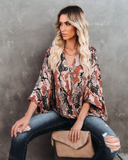 Contessa Snake Print Shimmer Drape Blouse - FINAL SALE view 3