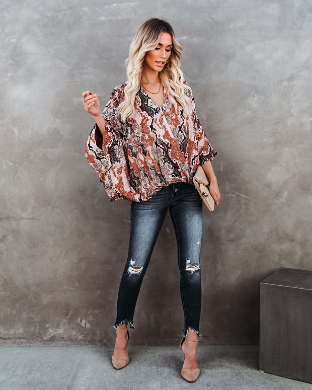 Contessa Snake Print Shimmer Drape Blouse - FINAL SALE view 8
