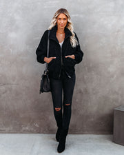 Cool For The Winter Pocketed Teddy Jacket - Black