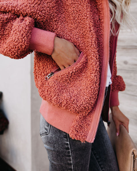 PREORDER - Cool For The Winter Pocketed Teddy Jacket - Terracotta