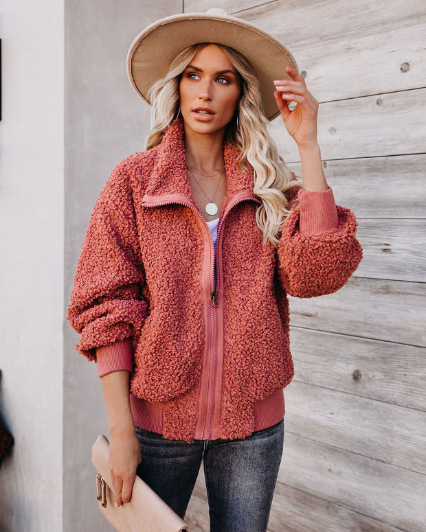 Cool For The Winter Pocketed Teddy Jacket - Terracotta