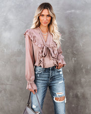 Cool Meadow Ruffle Tie Top - Light Mocha