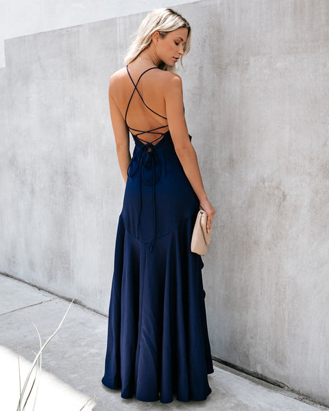 Cool Waters Ruffle Gown - Navy - FINAL SALE