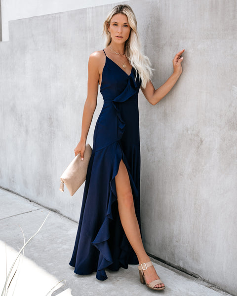 Cool Waters Ruffle Gown - Navy