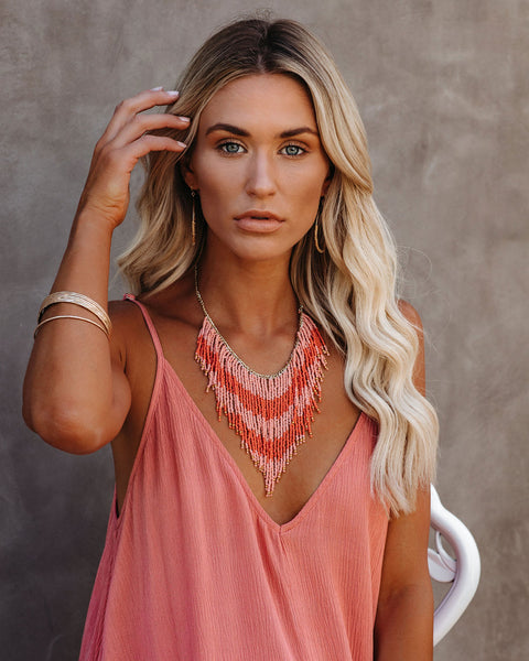 Coral Sunset Beaded Statement Necklace