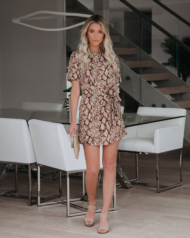 Corbin Snake Print Tie Dress