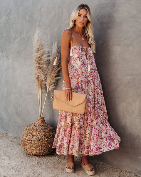 Cornfield Tiered Tassel Midi Dress