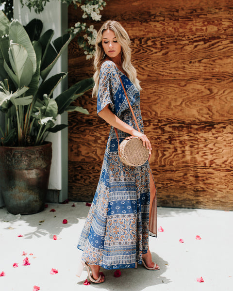 Cornflower Wrap Kimono Maxi Dress- FINAL SALE